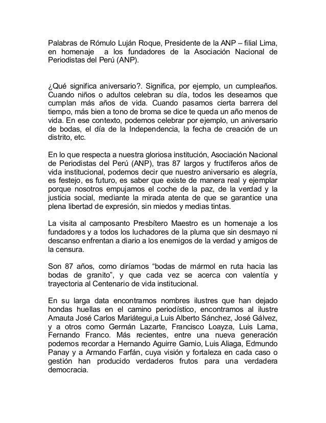 Palabras de Rómulo Luján Roque, Presidente de la ANP – filial Lima, en homenaje a los fundadores de la Asociación Nacional...