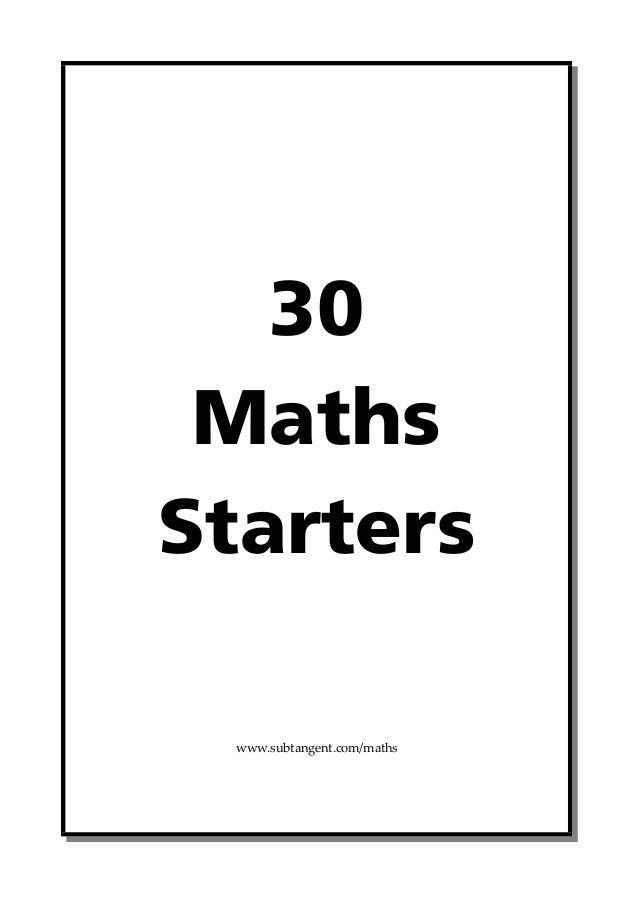 30-maths-starters
