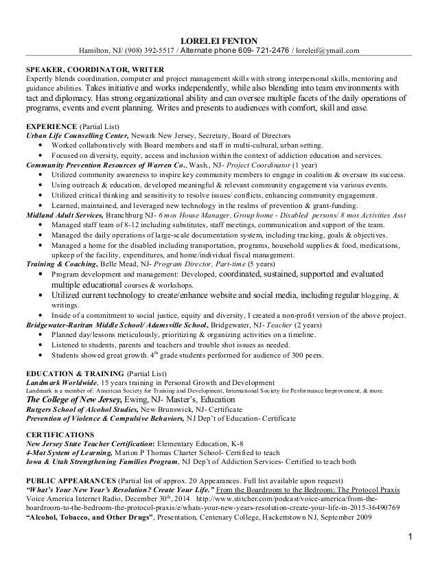 2015 resume project cordinator