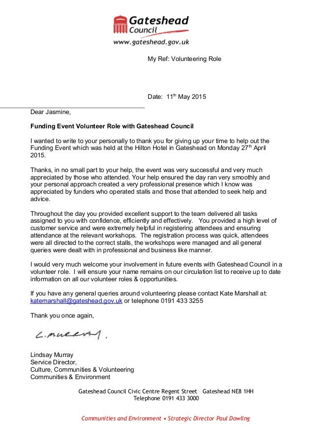 dear jasmine funding event volunteer role with gateshead council i wanted to write to your