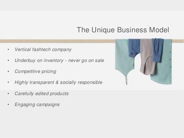 • Vertical fashtech company • Underbuy on inventory - never go on sale • Competitive pricing • Highly transparent & social...