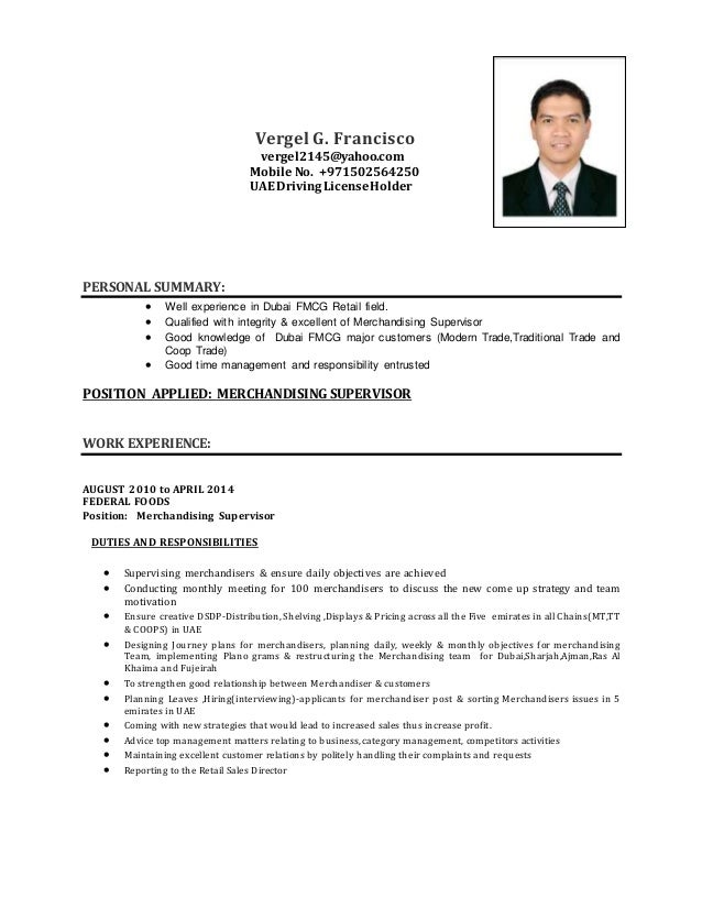 Merchandiser Description Resume Vergel Cv Merchandising Supervisor  Merchandiser Resume
