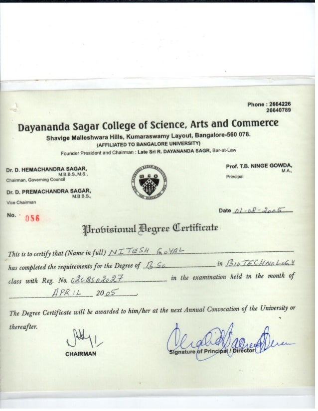 bsc provisional degree certificate