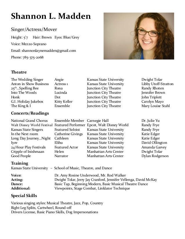 Theatre Performance Resume