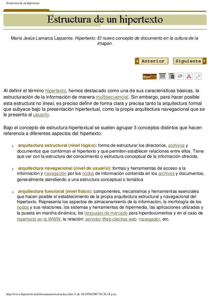 Estructura de un hipertexto    María Jesús Lamarca Lapuente. Hipertexto: El nuevo concepto de documento en la cultura de l...