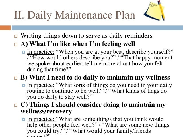 Wellness recovery action plan worksheets free worksheets for Recovery action plan template
