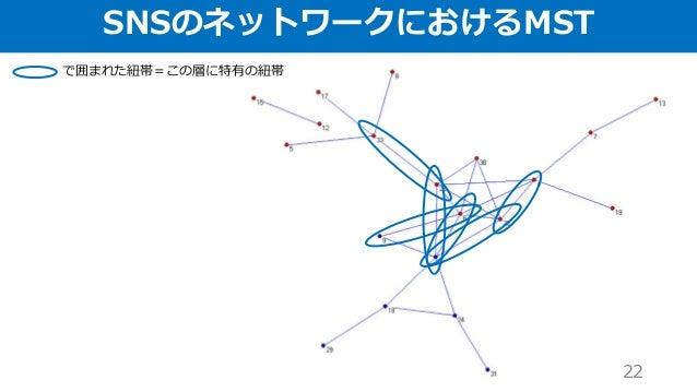 SNSのネットワークにおけるMST 22 で囲まれた紐帯=この層に特有の紐帯