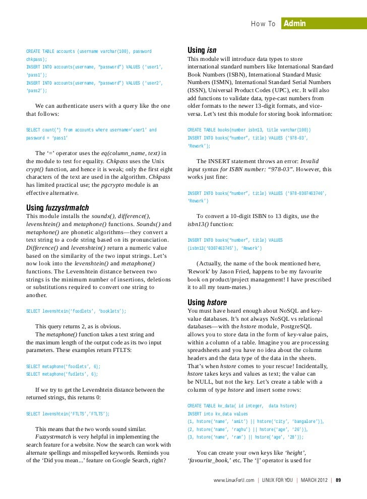 PostgreSQL Modules Tutorial - chkpass, hstore, fuzzystrmach, isn  Slide 2