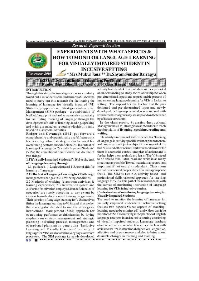 International Reseach Journal,November,2010 ISSN-0975-3486 RNI: RAJBIL 2009/300097 VOL-I *ISSUE 14 88 RESEARCH ANALYSIS AN...