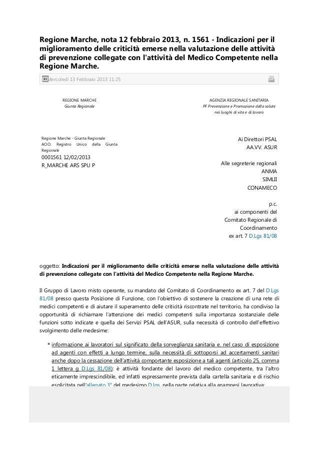 Regione Marche, nota 12 febbraio 2013, n. 1561 - Indicazioni per ilmiglioramento delle criticità emerse nella valutazione ...