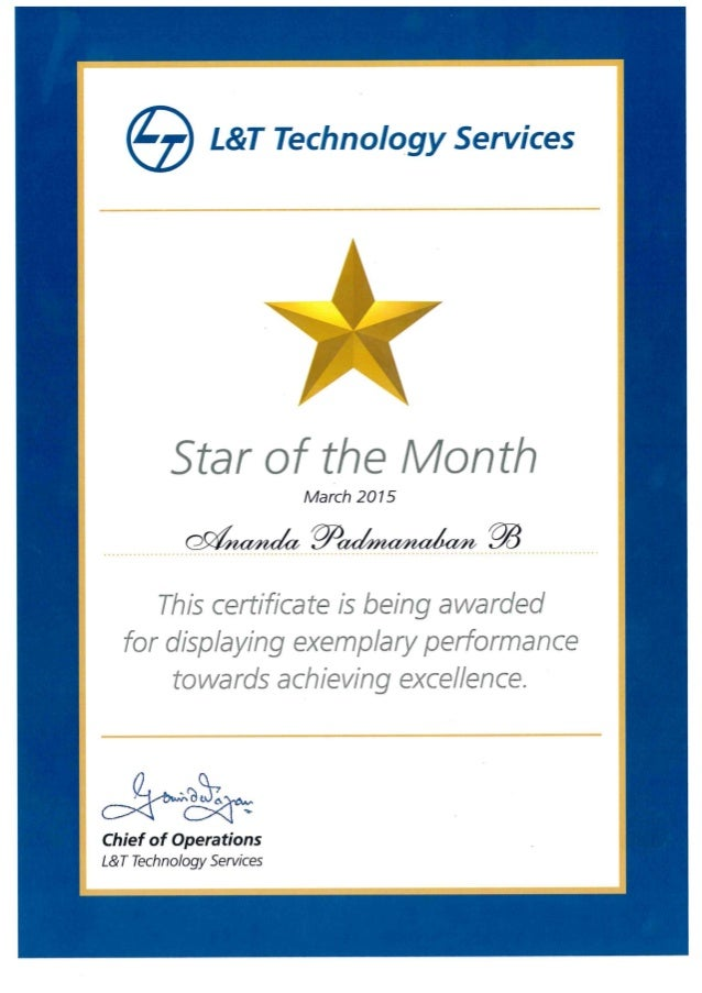 STAR OF THE MONTH AWARD