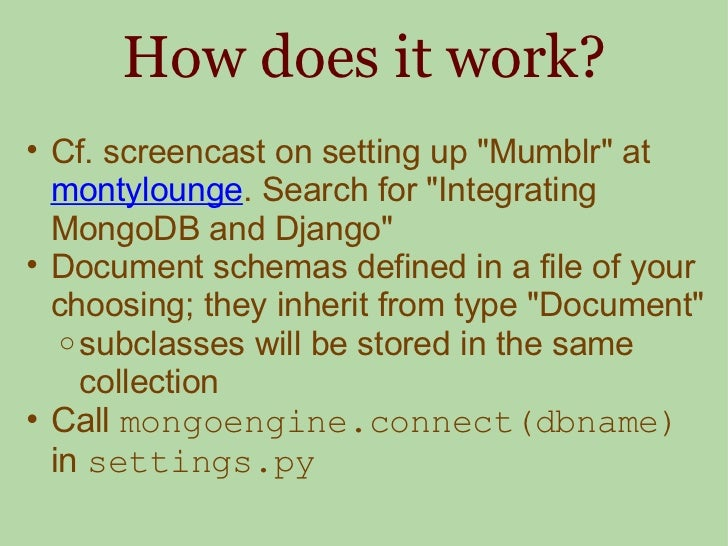 How does it work? <ul><ul><li>Cf. screencast on setting up &quot;Mumblr&quot; at  montylounge . Search for &quot;Integrati...