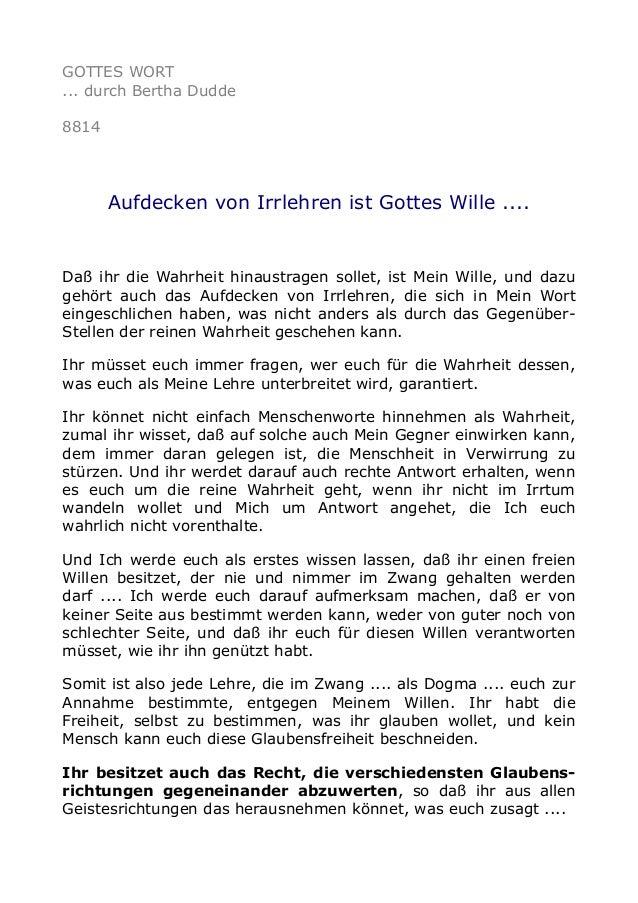 GOTTES WORT ... durch Bertha Dudde 8814 Aufdecken von Irrlehren ist Gottes Wille .... Daß ihr die Wahrheit hinaustragen so...