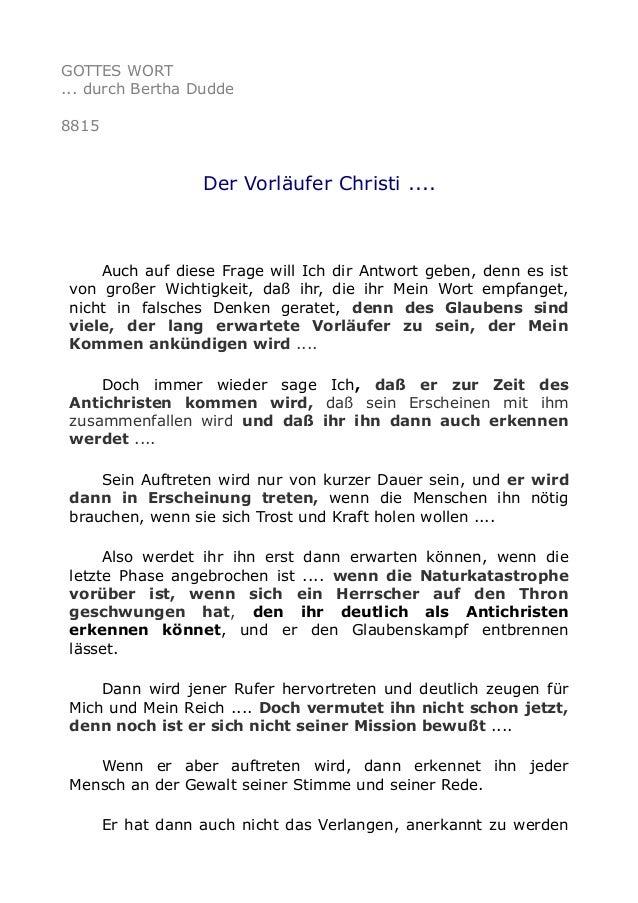 GOTTES WORT ... durch Bertha Dudde 8815 Der Vorläufer Christi .... Auch auf diese Frage will Ich dir Antwort geben, denn e...