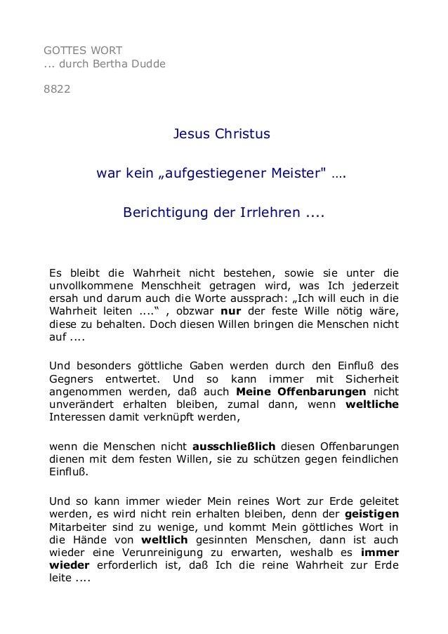 """GOTTES WORT ... durch Bertha Dudde 8822 Jesus Christus war kein """"aufgestiegener Meister"""" …. Berichtigung der Irrlehren ......"""