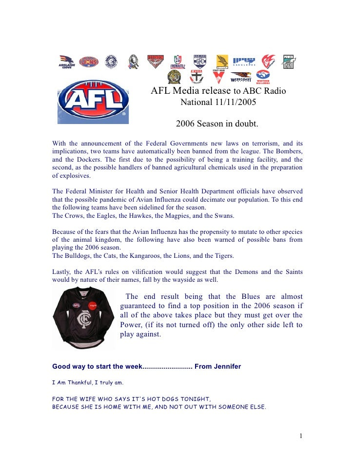AFL Media release to ABC Radio                                               National 11/11/2005                          ...