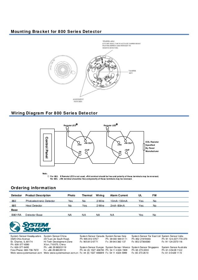 fire alarm photoelectric smoke \u0026 fixed temperature heat detector 600F Fenwal Heat Detector Wiring Diagram 80 ma for heat; 130ma for photoelectronic 882 885 agency listings; 2 mounting bracket for 800 series detector wiring diagram