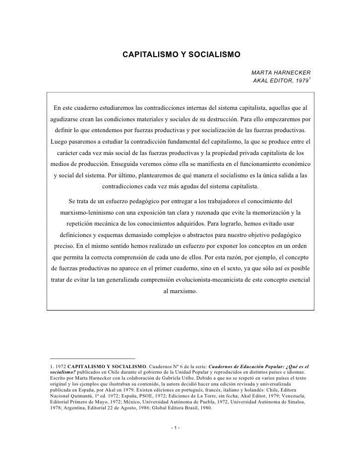 CAPITALISMO Y SOCIALISMO                                                                                            MARTA ...