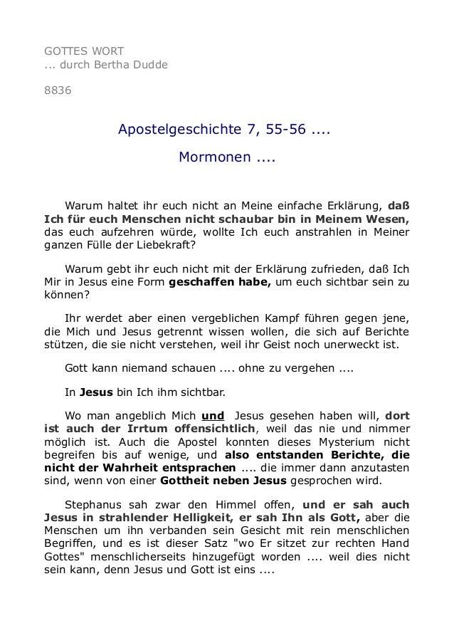 GOTTES WORT ... durch Bertha Dudde 8836 Apostelgeschichte 7, 55-56 .... Mormonen .... Warum haltet ihr euch nicht an Meine...