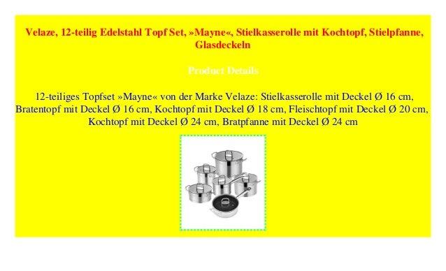 /»Mayne/« Stielpfanne Stielkasserolle mit Kochtopf Velaze Glasdeckeln 12-teilig Edelstahl Topf Set