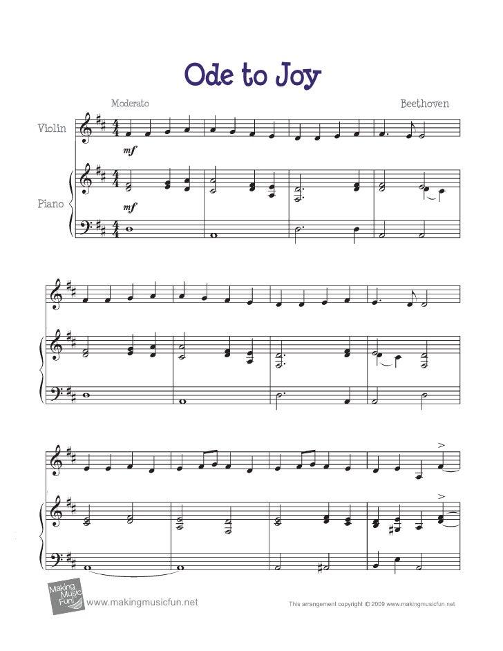 Ode to Joy                  Moderato                    BeethovenViolinPiano         TM              www.makingmusicfun.net