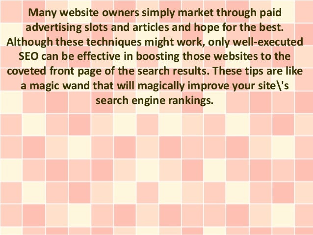 Many website owners simply market through paid    advertising slots and articles and hope for the best.Although these tech...