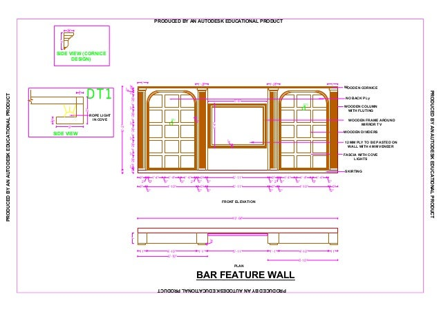Detail Drawing Of Bar Feature Wall