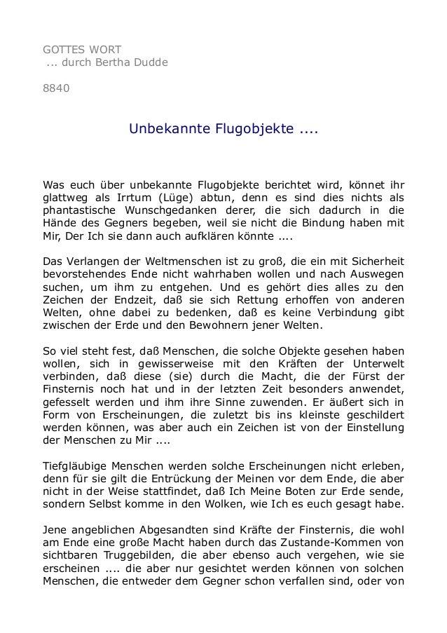 GOTTES WORT ... durch Bertha Dudde 8840 Unbekannte Flugobjekte .... Was euch über unbekannte Flugobjekte berichtet wird, k...