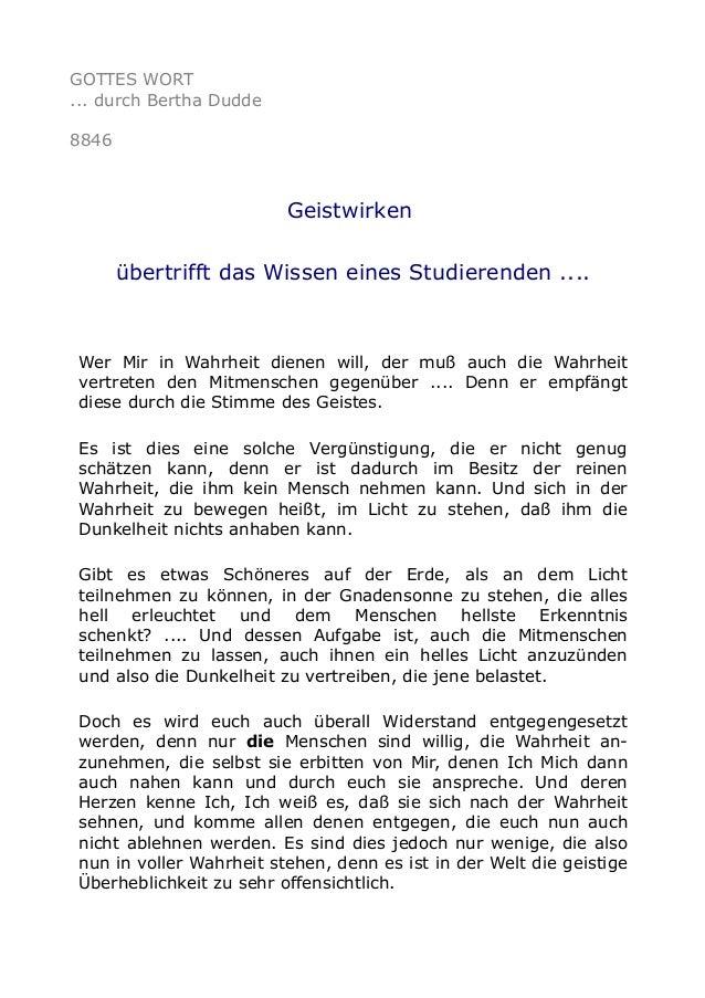 GOTTES WORT ... durch Bertha Dudde 8846 Geistwirken übertrifft das Wissen eines Studierenden .... Wer Mir in Wahrheit dien...