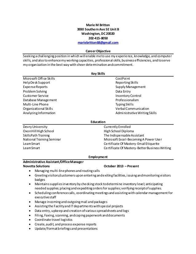 Marie M Britton 3930 Southern Ave SE Unit B Washington, DC 20020 202-415-8050 mariebritton68@gmail.com Career Objective Se...
