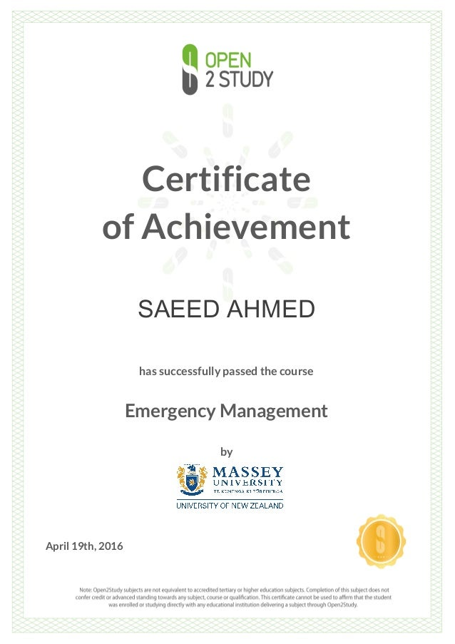 Certificate - Emergency Management by Massey Uni