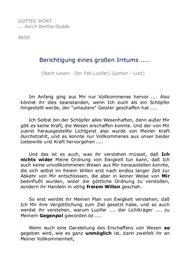 GOTTES WORT ... durch Bertha Dudde 8858 Berichtigung eines großen Irrtums .... (Nach Lesen: Der Fall Luzifer) (Lorber - Lu...