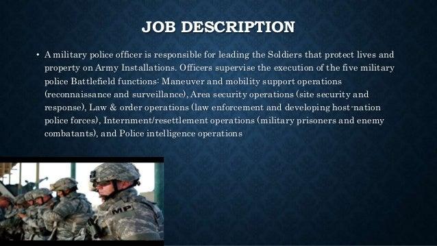 JOB DESCRIPTION U2022 A Military Police Officer ...