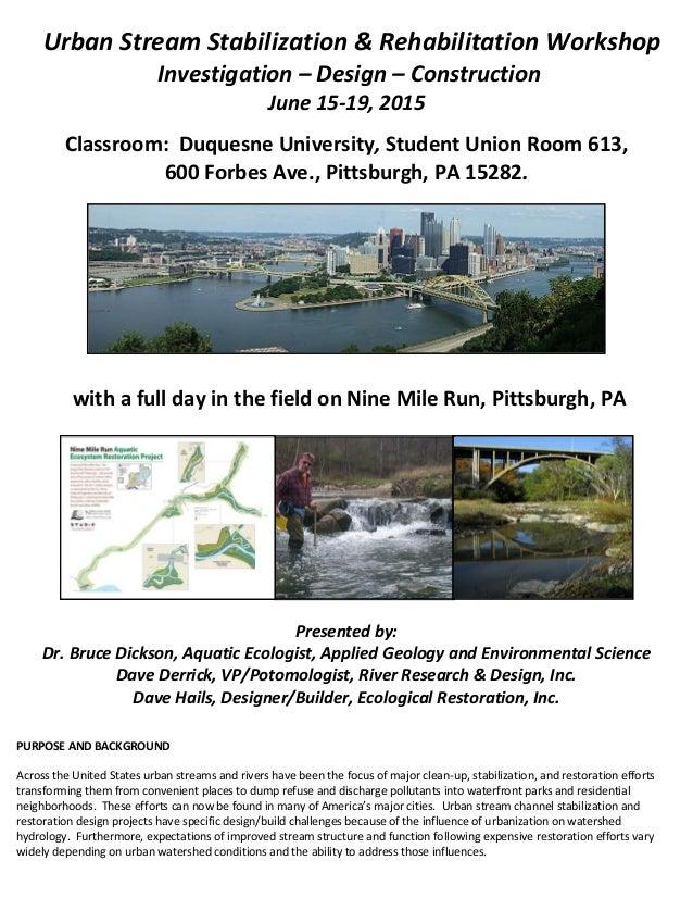 Urban Stream Stabilization Rehabilitation Workshop Pittsburgh Pa Ju