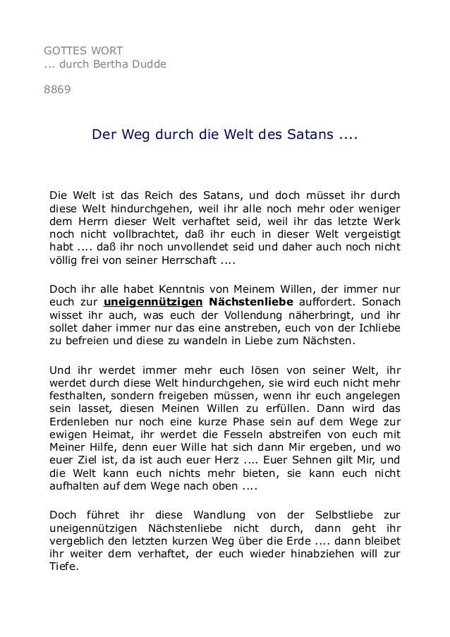 GOTTES WORT ... durch Bertha Dudde 8869 Der Weg durch die Welt des Satans .... Die Welt ist das Reich des Satans, und doch...