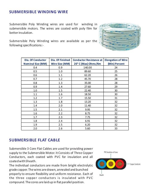 SUBMERSIBLE WINDING WIRE Submersible Poly Winding wires are used for winding in submersible motors. The wires are coated w...