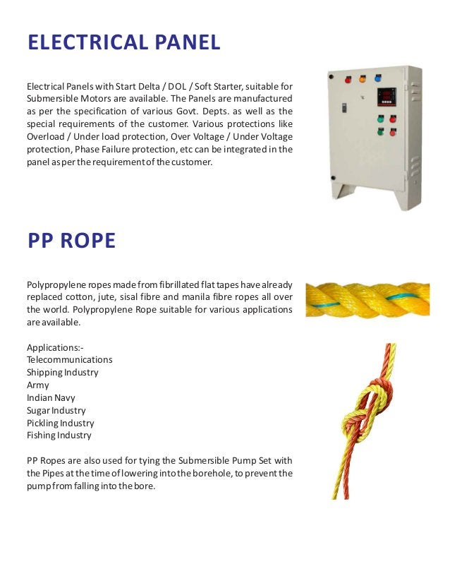 ELECTRICAL PANEL Electrical Panels with Start Delta / DOL / Soft Starter, suitable for Submersible Motors are available. T...