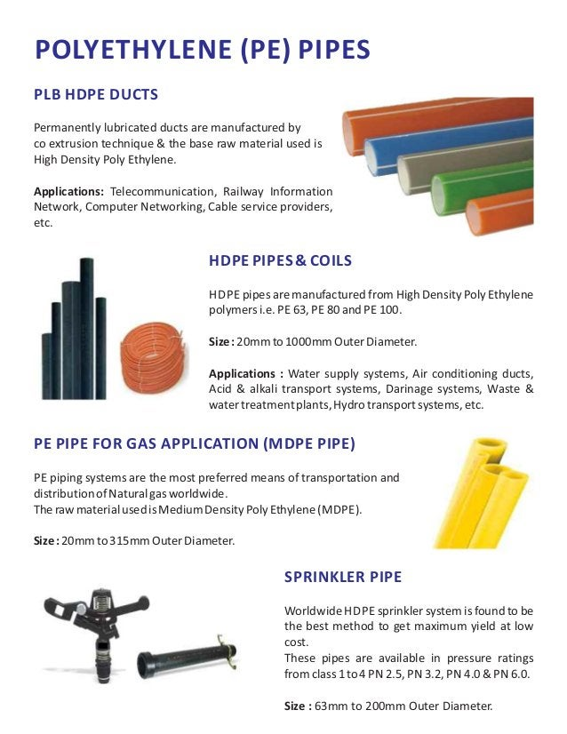 POLYETHYLENE (PE) PIPES PLB HDPE DUCTS Permanently lubricated ducts are manufactured by co extrusion technique & the base ...