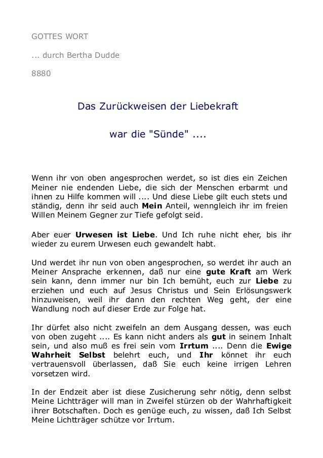 """GOTTES WORT ... durch Bertha Dudde 8880 Das Zurückweisen der Liebekraft war die """"Sünde"""" .... Wenn ihr von oben angesproche..."""