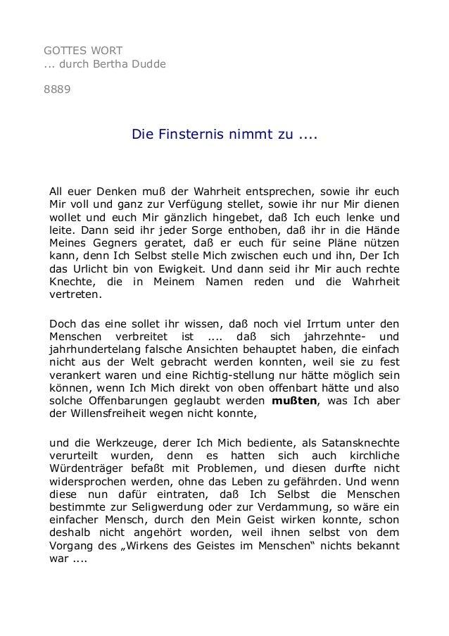 GOTTES WORT ... durch Bertha Dudde 8889 Die Finsternis nimmt zu .... All euer Denken muß der Wahrheit entsprechen, sowie i...