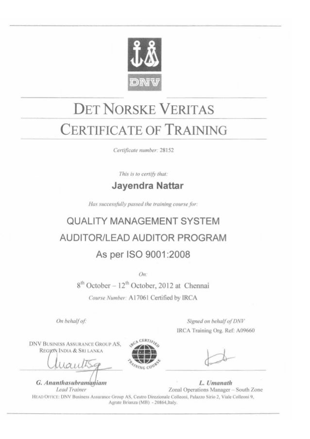 Lead Auditor Iso 9001 2008 Certificate