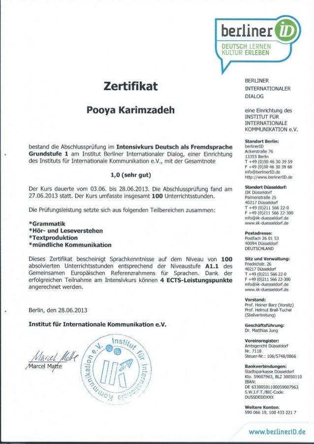 Zertifikat A1.1 - Pooya