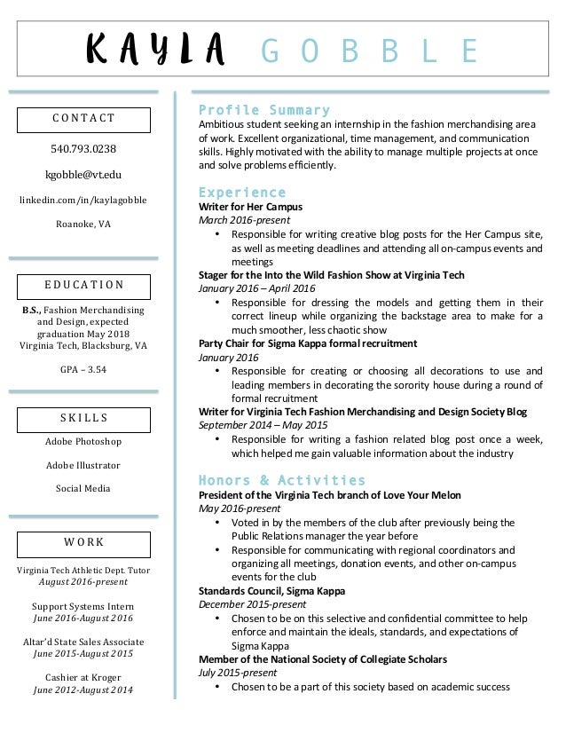Fancy Fashion Resume