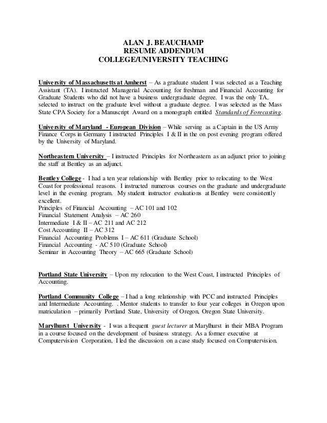 Resume Addendum - Teaching Recap