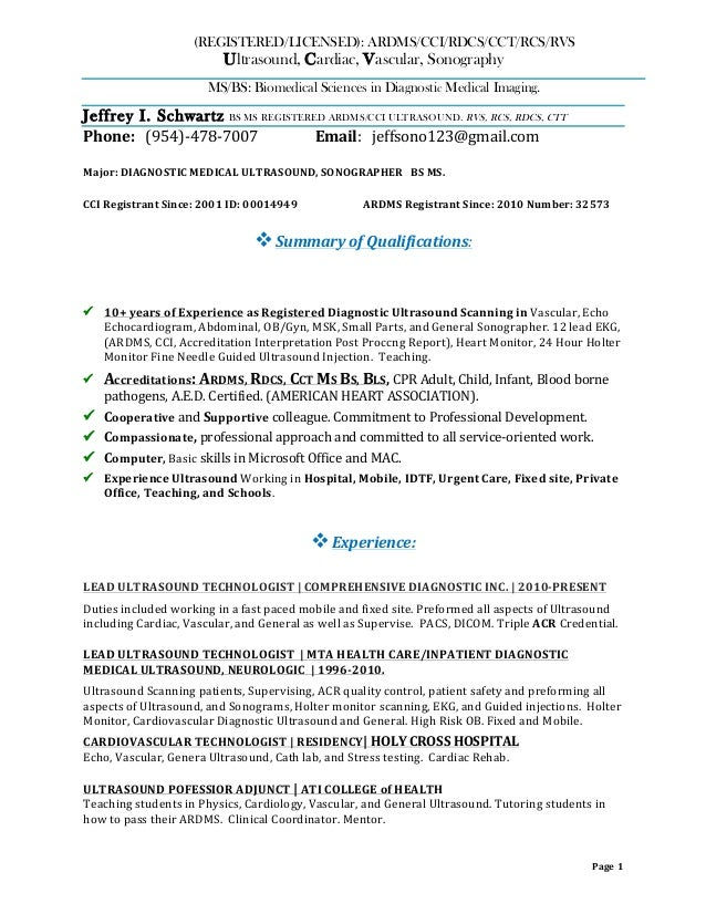 Good Jeff Ultrasound Resume PDF. Page 1 (REGISTERED/LICENSED):  ARDMS/CCI/RDCS/CCT/ ...  Ultrasound Resume