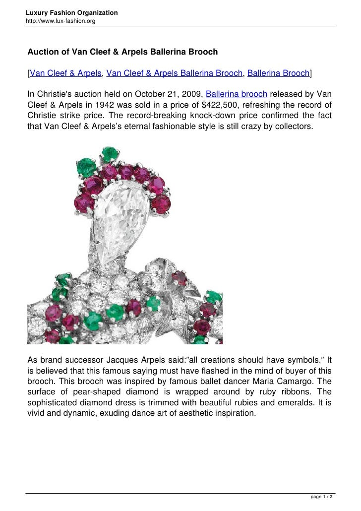 Luxury Fashion Organizationhttp://www.lux-fashion.orgAuction of Van Cleef & Arpels Ballerina Brooch[Van Cleef & Arpels, Va...