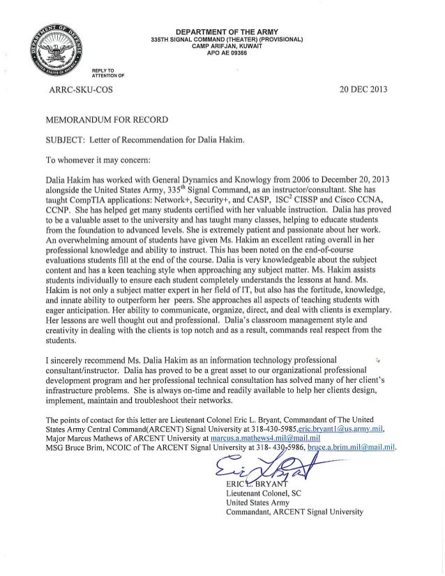 army recommendation letter self recommendation letter army recommendation letter
