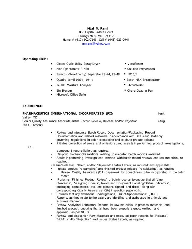 nital resume qa batch record review 2014