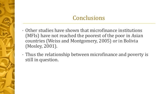 a survey on microfinance and its Based on the theoretical argument that microfinance entre  the impact of  entrepreneur–ceos in microfinance institutions: a global survey show all  authors.
