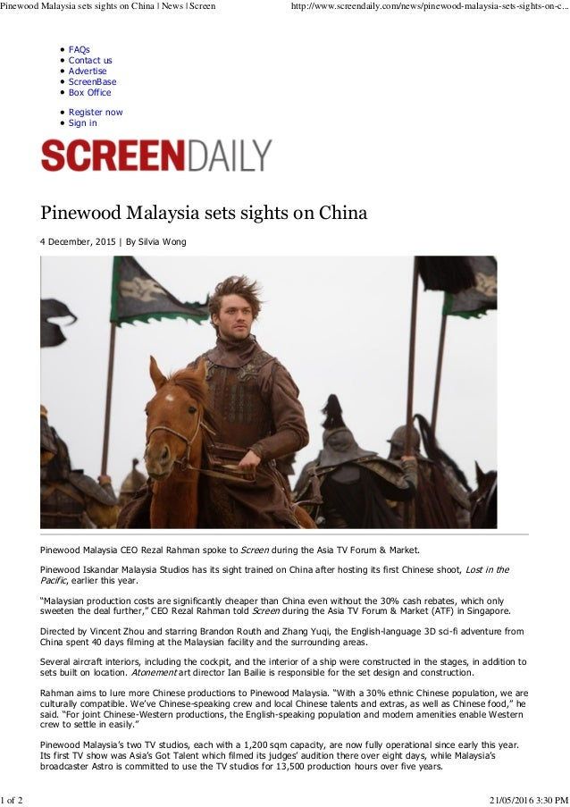 FAQs Contact us Advertise ScreenBase Box Office Register now Sign in Pinewood Malaysia sets sights on China 4 December, 20...